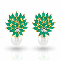 Cubic Zirconia Earring Emerald Pearl Stud Women Jewelry Collection D2