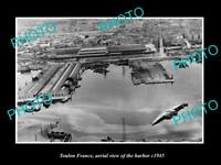 OLD LARGE HISTORIC PHOTO TOULON FRANCE AERIAL VIEW AFTER WWII BOMING c1944 6