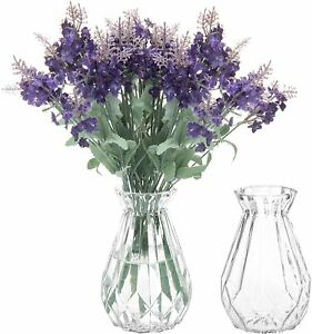 5-Inch Decorative Clear Glass Diamond-Faceted Flower Decorative Vases, Set of 2