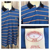 Brooks Brothers 346 Men's Blue/Orange 100% Cotton Striped Polo Shirt Size L