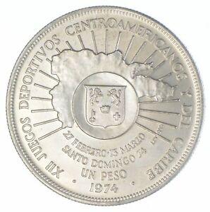 1974 Dominican Republic 1 Peso - Central American & Caribbean Games - TC *882