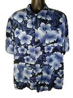 George Mens Size XL Rayon Hawaiian Aloha Shirt Blue Floral