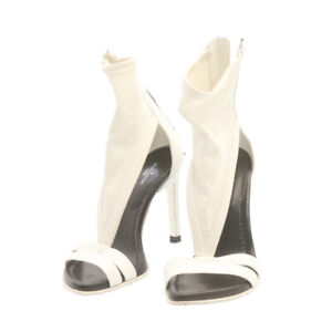 LOUIS VUITTON High Heels Sandals White Leather Nylon CC Auth fm354