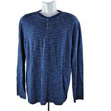 Gap Henley Long-Sleeve T-Shirt Large Tall LT Navy Blue White Stripes