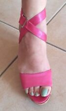 It's summer somewhere !.Strappy sandles ,wedge, satin .Hot Pink. .Made in Italy