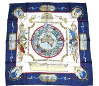 Hermes Scarf Le Geographe Silk 90 cm Blue Carre Shawl