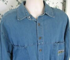 Girbaud Men's Denim Shirt Extra Large Distressed Stone Washed Rivet Button