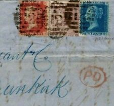 Gb Late Mail Cover 2d Blue 1863 3-Colour Franking Dunkirk Sg.45 84 42(Ma) {s}L88