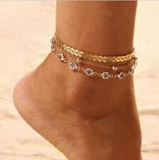Diy Fashion Multilayer chain anklet Women Jewelry vintage copper sequins anklet