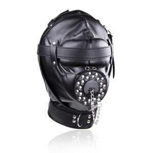 Soft Leather Gimp Bondage Hood Sensory Deprivation Mask Open Mouth Gag Fetish CN