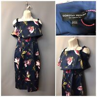 BNWT Dorothy Perkins Navy Floral Sleeveless Front Split Dress UK 8 EUR 36 US 4