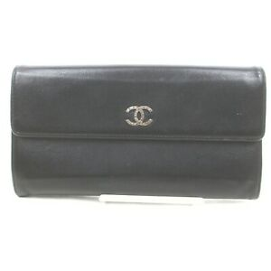 Chanel Long Wallet Coco Mark Black Leather 1511124