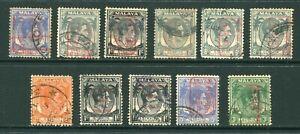 1942/44? Malaya Japanese Occupation 11 x stamps Used Nice Postmarks Pmks (13)