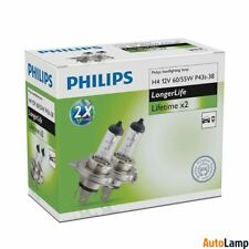 H4 Lampadine Alogene PHILIPS 12342ELC2 Faro Longer Life Set