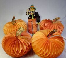 Vtg Beistle & Others Halloween Lot of 5 Honeycomb Decorations Scarecrow Pumpkins