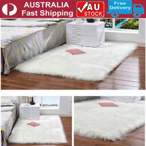 Soft Large Plush Floor Carpet Fluffy Area Rug Pad Mat Shaggy Bedroom Living Room