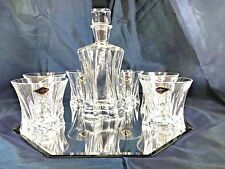 Crystal Glasses Whiskey Set Decanter 21oz and 6 Tumblers 10 oz Bohemian European