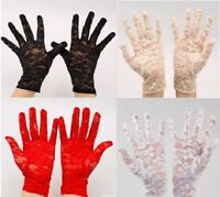 Full Lace Floral Design Short Wrist Gloves Wedding Goth Prom Party