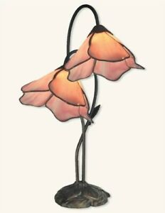 Victorian Trading Co Pink Stained Glass Twin Lily Accent Lamp