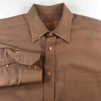Bugatchi Uomo Mens Button Front Shirt Brown Textured Long Sleeve Cuffed Pocket L