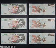 3 RIRPODUZIONI 100.000 LIRE CARAVAGGIO II TIPO SERIE SOSTITUTIVA CONSECUTIVI FDS