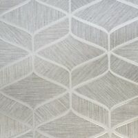 Gray silver bronze metallic faux fabric textured geometric wave lines Wallpaper