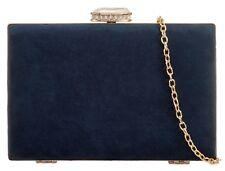 Navy Clutch Bag Hard Case Tablet Evening Shoulder Bag Faux Suede Blue Handbag