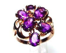 Genuine Amethyst 14-kt Gold Cluster Ring, Great Buy (#1240)