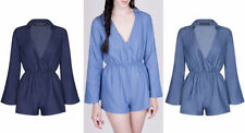 Denim Long Sleeve Playsuits for Women