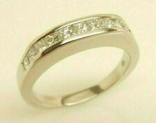 Women's PLATINUM 3/4 ct tw Princess Cut Natural Diamond Wedding Band Ring Size 7