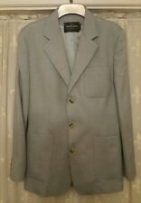 Luxury Ralph Lauren Cashmere & Silk Herringbone Mens Blazer 38R in Light Grey