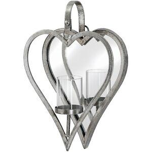 Candle Holder Mirror Wall Mount Silver Antique Art Retro Heart Design Metal