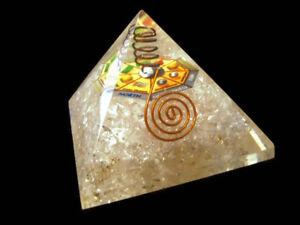 Large Clear Quartz Orgone Pyramid + Mandala Copper Coil Crystal Quartz Point