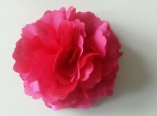 "Girls Women 3"" Satin Rose Flower. Hair Clip, Brooch, corsage HOT PINK UK SELLER"