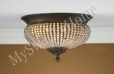 BEADED CRYSTAL Brass Floral FLUSH MOUNT Chandelier NEIMAN MARCUS Light Fixture