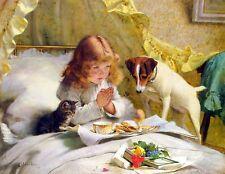 "Suspense by Charles Burton Barber, 8""x10.25"", Giclee Art Canvas Print"