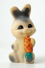 1970s Ussr Soviet Russia Happy Rabbit with Carrot Vintage Russian Rubber Toy