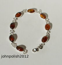 Baltic Amber Oval Bracelet on Silver 925