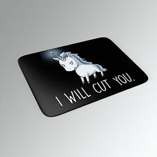 NEW Funny Printed Novelty I WILL CUT YOU Unicorn Soft 6mm Mousemat Mouse Mat Pad