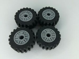 LEGO PART 55981 WHEEL 18MM D. X 14MM PIN HOLE TYRE 30.4 X 14 Grey X4  Ref:D62