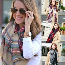 US SELL Oversize Blanket Tartan Plaid Scarf Wrap Shawl Long Big Checked Winter