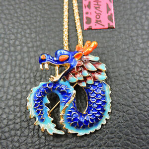 Woman's Betsey Johnson Blue Enamel Exquisite Dragon Pendant Sweater Necklace