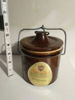 Vintage 1979? Figi's Cheese Crock, Kave Kure, Brown with Wire Bail, Stoneware