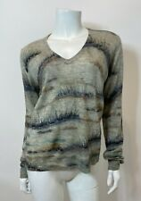 Burning Torch Distressed Cashmere V Neck Sweater in Grey Size S $386