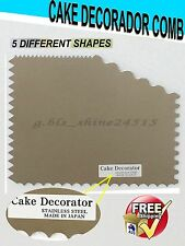 JAPAN 5 Scraping patterns Cake Decorator Comb Stainless Steel Scraper Pastry