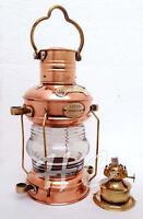 "14""  Brass & Copper Anchor Oil Lamp Leeds Burton Nautical Maritime Ship Lantern"