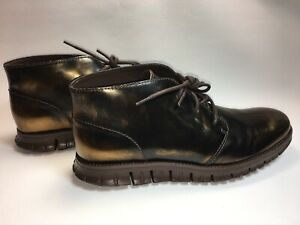 Cole haan zerogrand chukka metallic brown ankle boots size 8.5 mens