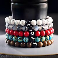 Fashion 8MM Beaded Balance Demon eye Meditation Yoga Charm Men Women Bracelets