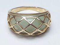 """925 Silber Ring vergoldet China Jade hellgrüne Jade Hersteller """"HN"""" RG 60/A426"""