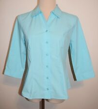 New Christopher Banks PS Shirt 3/4 Sleeve Button Front Aqua Top Petite Small